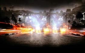 Обои горы, пальмы, улица, здания, Battlefield 3: Back to Karkand