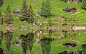 Картинка трава, отражения, деревья, горы, озеро, дом, Германия
