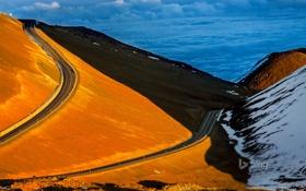 Картинка облака, краски, гора, Гавайи, США, Большой остров, дорога до Мауна-Кеа