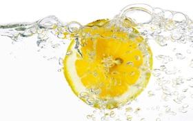 Обои вода, пузыри, лимон