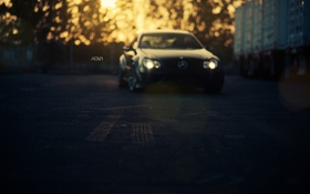 Картинка машина, закат, фон, черный, вечер, тачка, Mercedes