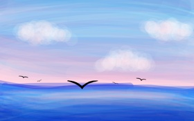 Обои чайки, облака, море