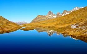 Обои вода, снег, горы, озеро, отражение, весна