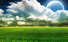 Картинка поле, небо, трава, облака, природа, фото, луна