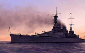 Обои закат, арт, корабль, море, крейсер
