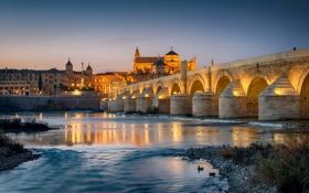 Обои небо, огни, сумерки, Испания, Кордова, река Гвадалквивир, Римский мост
