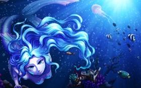 Картинка море, глаза, взгляд, рыбы, лицо, фантастика, океан