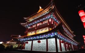 Обои ночь, огни, Китай, Пекин, китайская архитектура