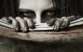 Обои глаза, взгляд, холст, грязные ногти