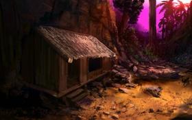 Обои песок, деревья, пейзаж, закат, дом, камни, пальмы
