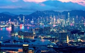 Обои огни, вечер, Hong Kong