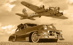 Картинка машина, Chevrolet, самолёт, B17