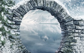 Обои зима, деревья, горы, мост, природа, река, фото