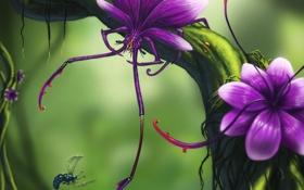 Обои цветок, муха, дерево, монстр, хищник, ветка, арт