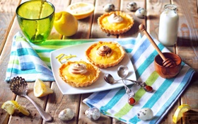 Обои посуда, лимоны, мед, крем, фрукты, тарелка, цитрусы
