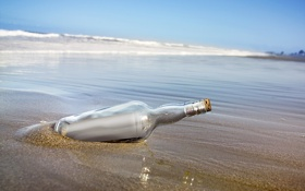 Обои море, песок, сообщение, бумажка, берег, послание, записка