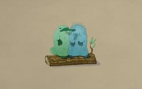 Картинка друзья, кора, утконос, звери, ехидна, листья, бревно