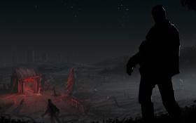 Картинка ночь, фантастика, человек, зомби, Day-Z Fire Show