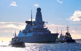 Обои море, небо, облака, малые корабли, эсминец «HMS Defender», британский военно-морской флот