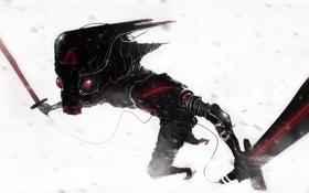 Картинка робот, меч, шлем, киберпанк