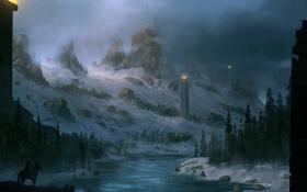 Обои зима, горы, река, winter is coming, воин