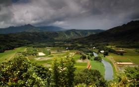 Картинка горы, тучи, поля, Гавайи, панорама, речка, леса