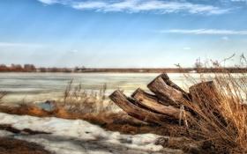 Картинка снег, пейзаж, природа, река, весна