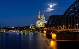 Обои ночь, мост, город, река, луна, Германия, освещение
