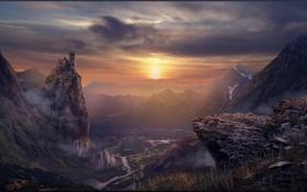 Картинка солнце, закат, горы, река, долина