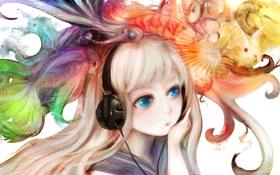 Картинка девушка, звери, краски, наушники, арт, zhang xiao bo
