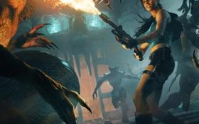 Картинка девушка, оружие, монстры, битва, огнемёт