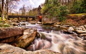 Картинка лес, небо, деревья, мост, река, камни, мельница
