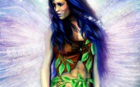 Обои листья, девушка, волосы, крылья, фея
