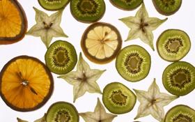 Обои белый, фон, лимон, апельсин, киви, фрукты
