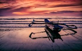 Картинка закат, облака, горизонт, волны, пляжный, зеркало, море