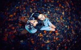 Картинка осень, девушка, Парень, головокружение