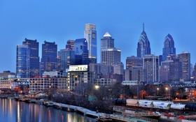 Картинка река, небоскрёбы, набережная, Делавэр, синий час, Филадельфия