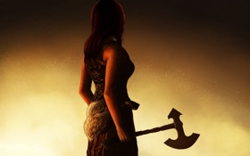 Обои девушка, оружие, фон, волосы, спина, рука, мех