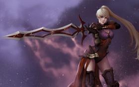 Обои арт, меч, девушка, блондинка