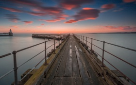 Обои pier, see, sunset, cloud