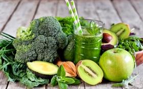 Обои зеленый, яблоко, киви, сок, овощи, мята, авокадо