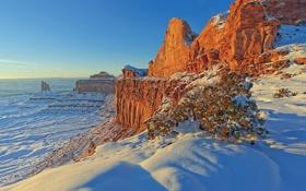 Картинка зима, снег, горы, скалы, каньон, Юта, США
