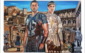 Картинка art, Maximus, gladiator, Russell Crowe, Гладиатор, Joaquin Phoenix, Commodus