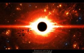 Обои обломки, свет, сияние, звезда, взврыв