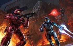 Картинка оружие, скалы, огонь, бой, солдаты, Halo, броня