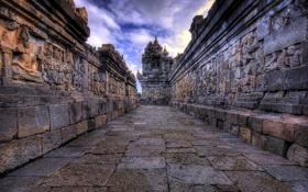 Обои облака, Камбоджа, небо, Ангко́р-Ват, angkor wat, храмовый комплекс, барельеф