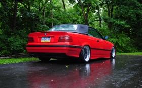 Картинка дождь, тюнинг, бмв, BMW, red, кабриолет, красная