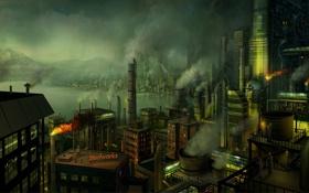 Обои трубы, город, дым, рабочие, гавань, Завод, фабрика