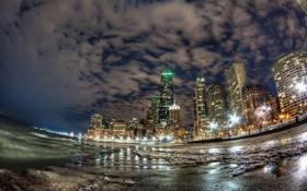 Обои ночь, огни, небоскребы, Чикаго, United States, Chicago, Illinois