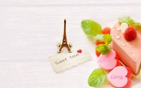 Обои heart, пирожное, еда, любовь, love, крем, сердца